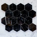 80mm NSP Nero Marquina Hexagon mosaic
