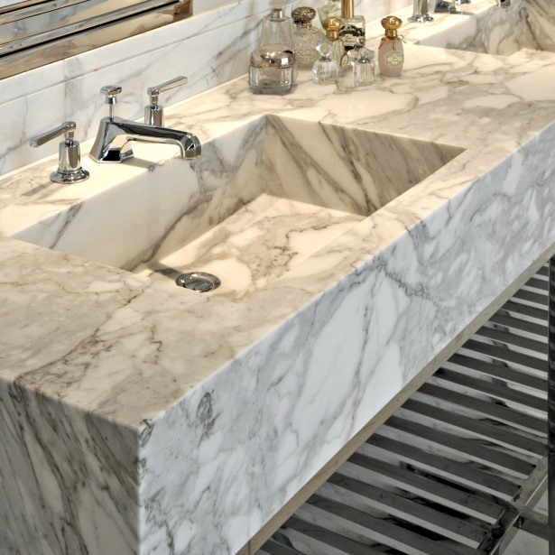 Double carved basin in statuary marble