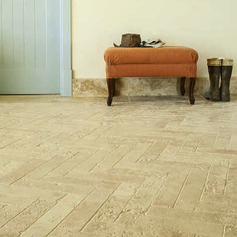 Tumbled Travertine Herringbone
