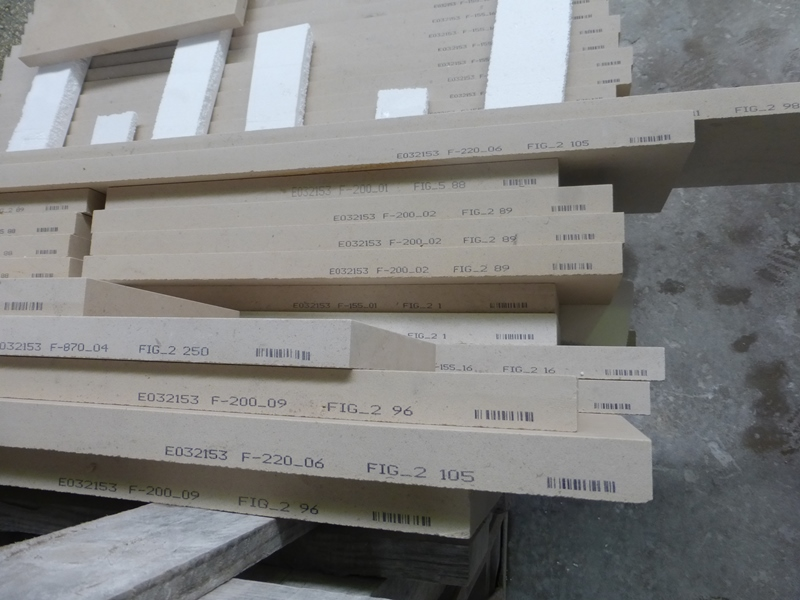 Each piece of limestone for external cladding is barcoded
